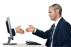 Blog image men shaking hands through the computer