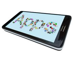 Mobile App Development blog image of a phone with the word image spelling out using app logos