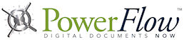 PowerFlow logo of power in green font and flow in black font next to a vault spin wheel