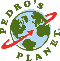 Pedro's Planet blog post logo of the globe with a red arrow around
