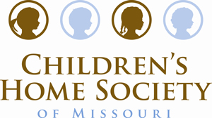 Children's home society of Missouri lettering with profiles of children in circles colored in brown and blue in
