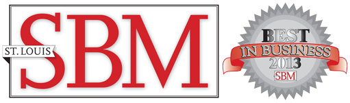 Small business monthly logo large white rectangle with red lettering next to a grey and red prize ribbon