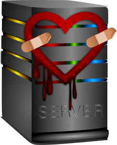 Blog image cartoon server with bleeding heart with bandaids on it