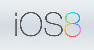 iOS in black font next to a rainbow colored 8 on a silver background