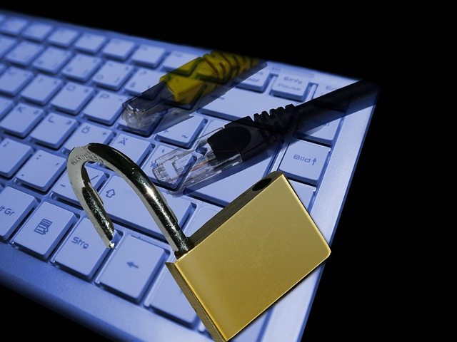 Blog image white keyword with computer cords and a lock