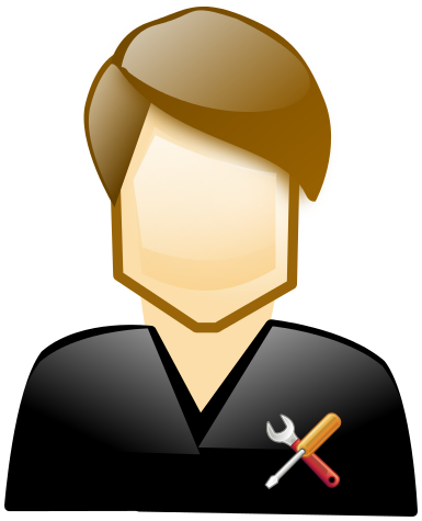 Blog image cartoon man in black shirt with tools in it