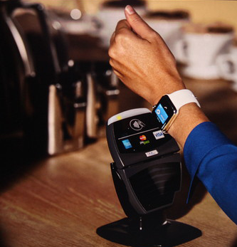Blog image women using apple watch to pay for morning coffee