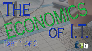 TNtn image spreadsheet background with text of the economics of I.T. part 1