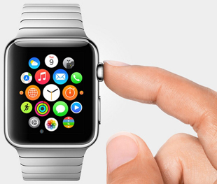 finger image on the side silver apple watch