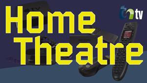 TNtv image collage of apple tv, fire stick, and remotes with a blue tint and yellow lettering of home theatre