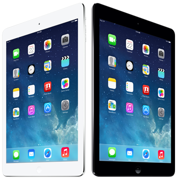 Blog image standing black and white Apple iPads