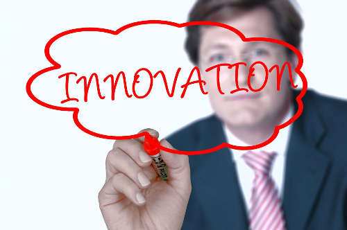 Blog image business man drawing innovation thought bubble