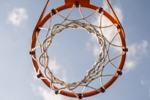 Blog image basketball hoop net and rim with sky background