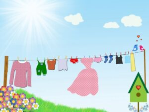 Blog image cartoon clothes dry in the sun on a clothes lines