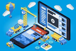 Blog image virtual construction team builds app in phones on blue background
