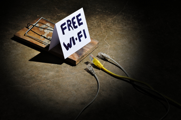Blog image free wifi sign on mouse trap next to internet wires