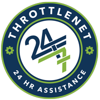 Blog image throttlenet 24/7 assistance logo dark blue circle with lime green outline