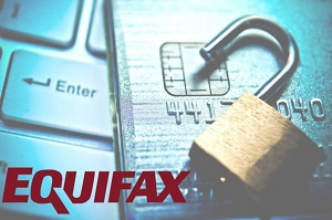 Blog image Equifax logo with lock and credit card in background