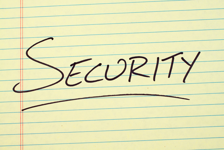 Blog image security written on a yellow legal pad