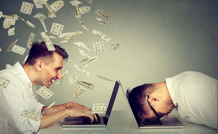 Blog image Stressed desperate burnout man resting sleeping on laptop sitting next to professional man under money dollar rain
