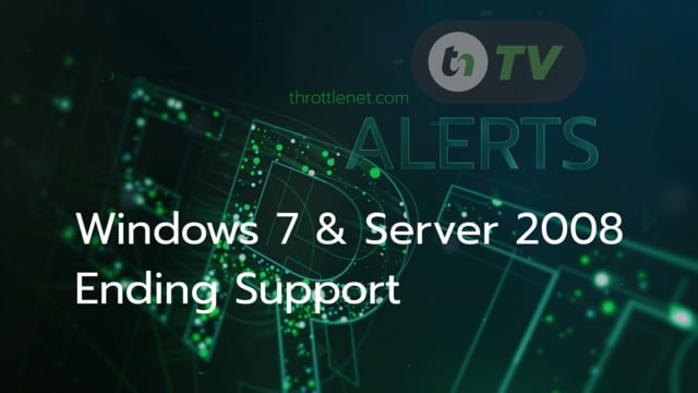 TNtv image black and green digital background with test of Windows 7 & Serve 2009 Ending Support