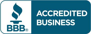 Accredited business logo with torch and BBB text