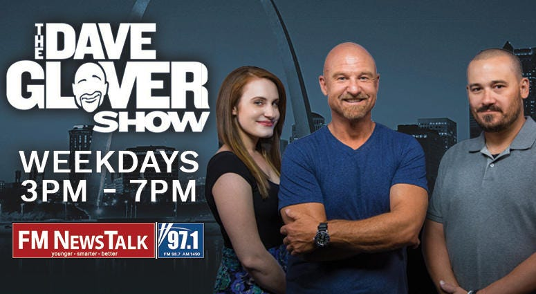 TN radio Dave Glover show promotional image three people standing with st louis city background