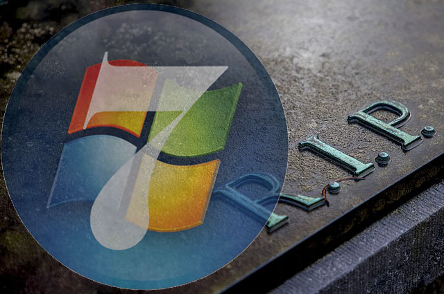 Blog image transparent windows 7 logo over a tombstone