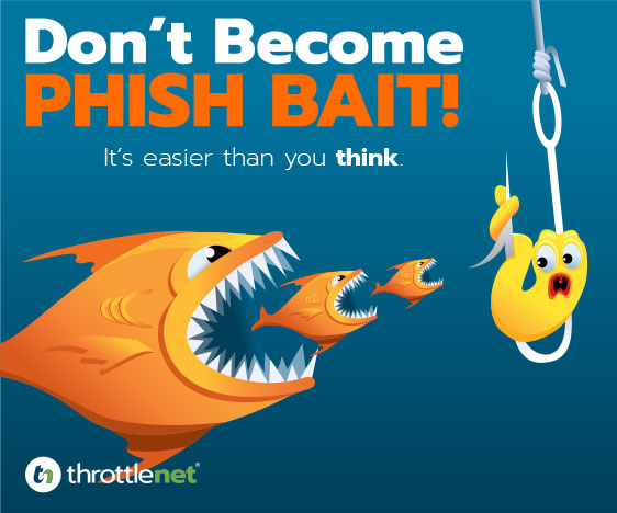 Phishing graphic of fish (phish) eating a worm